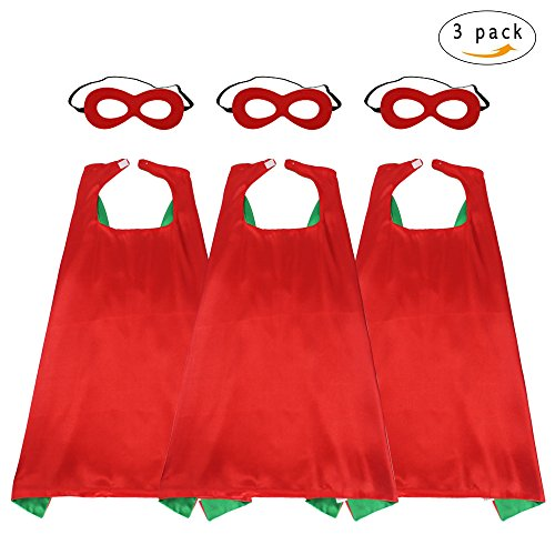 43'' Adults Super Hero Capes Masks Set Red Green Dual Color-Women Men's Dress Up Party Costumes,3 Pack