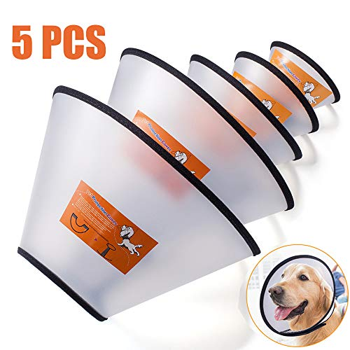Fezep Dog Cone Collar, 5 PCS Adjustable Protective Collars for Pet Dog & Cat, Recovery E-Collar Anti-Bite Lick Wound Healing, Soft Edge Neck Cone for Small/Medium/Large Dog