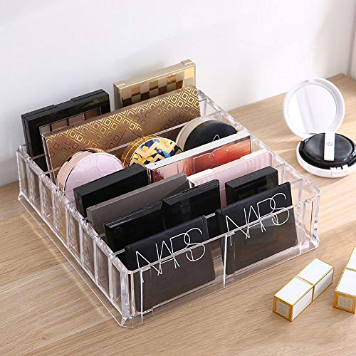 ROWNYEON Acrylic Makeup Organizer 8 Compact Makeup Holder Organizer For Vanity Clear Cosmetics Makeup Drawer Organizer Makeup Organizer Countertop Makeup Tray With Removable Dividers