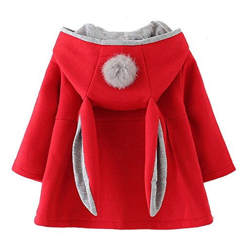 RJXDLT Baby Girl's Toddler Kids Fall Winter Coat Jacket Outwear Ear Hoodie Sweatshirt 6-12 Months Red 135