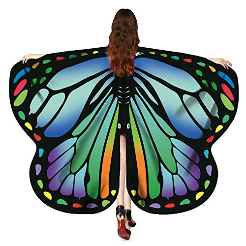 YOcheerful Women Butterfly Wings Shawl Scarves Dress Up Party Holiday Ladies Nymph Pixie Poncho Costume Accessory