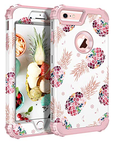 Pandawell Compatible iPhone 6s Plus Case 6 Plus Case Floral 3 in 1 Heavy Duty Hybrid Armor High Impact Shockproof Protective Cover Case for Apple iPhone 6 Plus/6s Plus, Pineapple/Rose Gold