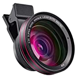 Phone Camera Pro Lens Kit , 0.5X Super Wide Angle Lens + 15X Macro Lens with Travel Case, Clip on Cell Phone Camera Lens Compatible with iPhone ,Samsung, Pixel ,Most Smart Phone