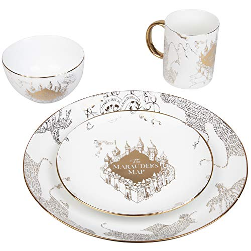 Harry Potter Marauders Map Porcelain 4 Piece Place Setting - Includes 1 Dinner Plate, 1 Salad Plate, 1 Bowl and 1 Mug - Gold Marauders Map Design