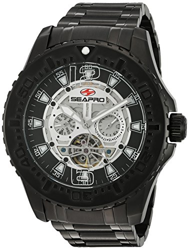 Seapro Men's SP3312 Tidal PX1 Analog Display Automatic Self Wind Black Watch