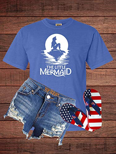 The Little Mermaid Sitting on a Rock in Comfort Color Adult T-Shirt -
