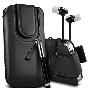 Samsung Galaxy S3 i9300 premium protección PU botón magnético ficha de extracción Slip Cord En la caja del filtro del bolsillo de la piel cubierta rápida, Retractable Stylus Pen & Calidad superior en auriculares de botón estéreo de manos libres de auriculares Auriculares con micrófono Mic y botón de encendido-apagado Negro por Spyrox