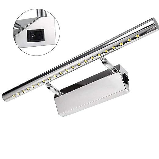 GreenSun LED Lighting 70cm 5050SMD Lámpara de Pared Baño Aplique Espejo de Acero Inoxidable LED para Baño con Luz Blanco Cálido de 9W 39 LEDs de ...