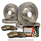 (F+R Full Kit)4 OEM Replacement Great-Life Premium Disc Brake Rotors + 8 Ceramic Pads(Works with 4lug)-Combo Brake Kit