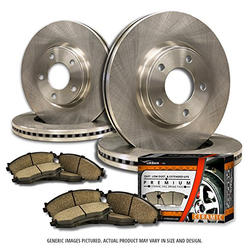 (F+R Full Kit)4 OEM Replacement Extra-Life Heavy Duty Brake Rotors + 8 Ceramic Pads(Works with 6lug)-Combo Brake Kit Cadillac Heavy Duty Brake Pad