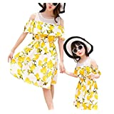 Lemon Yellow Bright Summer Beach Dress Set for Mother and Daughter