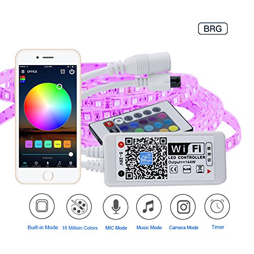 JIGUOOR Led light Super Mini LED WIFI APP Smart Controller Working with Android and IOS System Mobile Phone Free App + Remote Control For RGB LED Strip (28v Kit)