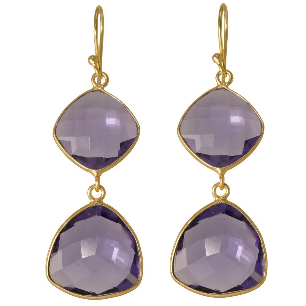 Bezel Earrings 925 Stearling Silver Girls Iolite Quartz Earrings Beautiful Dangle Earrings for Women Gold Plated Earrings