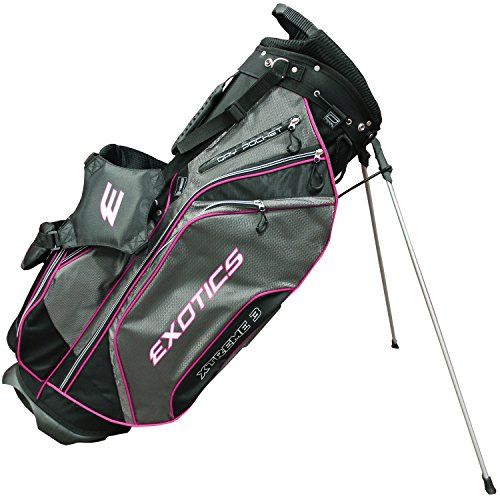 Tour Edge Men's Exotics Xtreme3 Stand Bag, Black/Charcoal/Melon