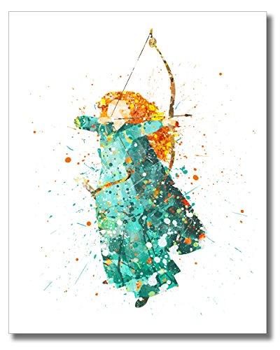 merida-disney-princess-watercolor-photo-prins-unique-kids-8x10-wall-art