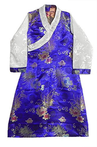 DollsofIndia Blue Brocade Silk Sikkimese Dress for 2 To 3 Years of Age (LO44)