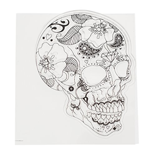 Sugar Skull Bone Transparent Silicone Stamp Clear DIY Scrapbooking Craft (2 Dozen Sugar)