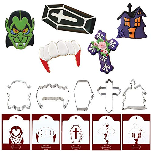 Vampire Cookie Cutters with Matching Cookie Stencils - Set of 10-5Pcs Cookie Cutter and 5Pcs Matching Cookie Stencils, Include DRACULA, Fangs, Coffin, Cross and Castle ()