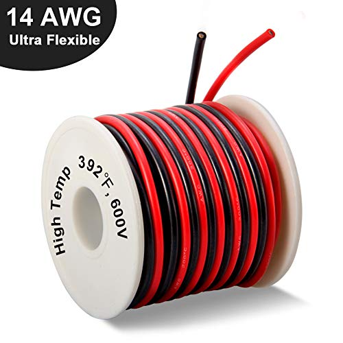 14 Gauge Stranded Wire - 14 Gauge Silicone Wire Spool 40 Feet, Ultra Flexible High Temp 200 deg C 600V 14 AWG Stranded Wire with 400 Strands of Tinned Copper Wire, 20 ft Black and 20 ft Red Wire for Model Battery by MILAPEAK