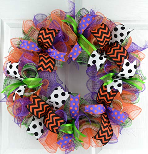Halloween Wreaths | Deco Mesh Outdoor Front Door Wreath; Black White Purple Orange Lime Green : H2 -