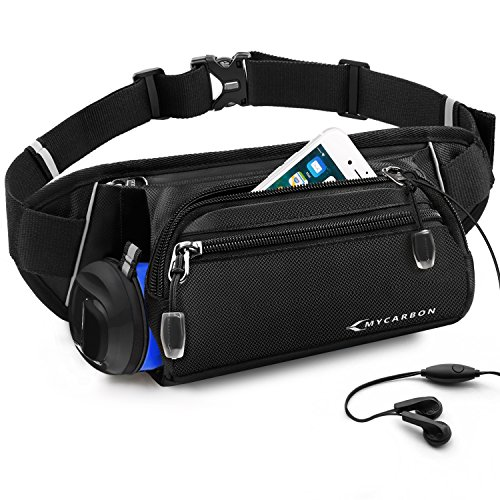 (MYCARBON Fanny Pack for Women Men -Folded Water Bottle Holder Waist Pack -Waterproof Hydration Belt -No Bounce Running Bag -Adjustable Hip Bag for Travelling Running Hiking Cycling Fits iPhone 8 Plus)
