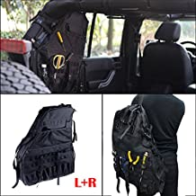 For Jeep Wrangler JK 2007-2016 4-door Storage Organizers Cargo Bag Saddlebag Roll Cage Multi-Pockets Mutitool Kits (Left+Right)