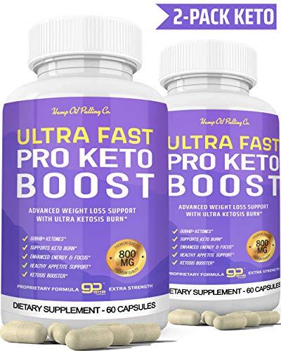 Ultra Fast Keto Boost Keto Pills for Keto Diet - Ketogenic BHB Supplement for Men and Women for Energy, Focus & Metabolism Support 2 Bottles H*O*P Hemp Oil Pulling