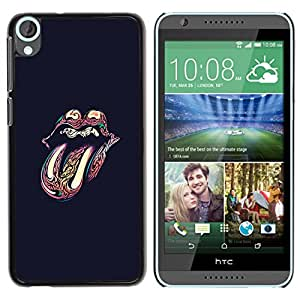 Planetar® ( Rock And Roll Black Lips Tongue Band ) HTC Desire 820 Fundas Cover Cubre Hard Case Cover