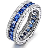 LALISA New Womens Blue Sapphire Engagement Ring 10KT White Gold Filled Wedding Band Sz5-10 (5)
