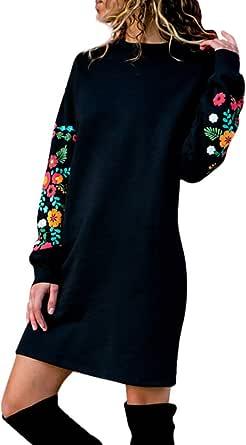 Sudaderas para Mujer Sin Capucha Invierno Pullover,PAOLIAN Vestido Mujer Cortos Fiesta Sexy Estampado Floral Otoño Tallas Grandes Jerséis Camisetas Largas Manga Largas Elegantes