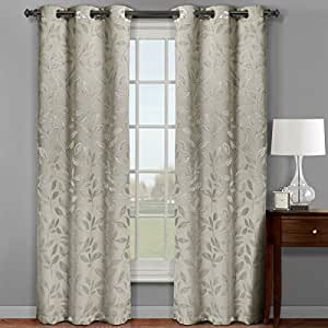 set of 2 panels 72 wx84 l royal tradition claire beige micro suede jacquard. Black Bedroom Furniture Sets. Home Design Ideas