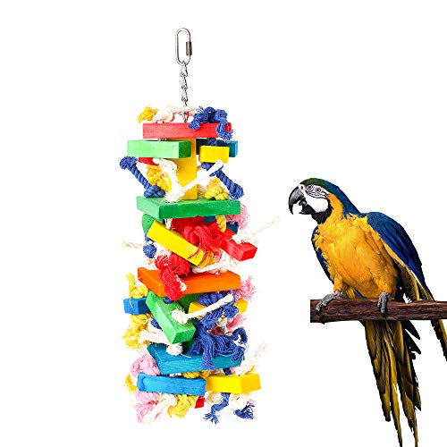 DONO Parrot Knots Blocks Chew Wooden Toys for Parakeets Pure Natural Knots with Multiple Colors, Large BirdToys