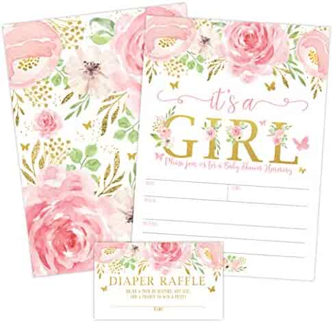 It's a Girl Floral Butterfly Baby Shower Invitation, Pink and Gold Flowers Sprinkle Invites with Diaper Raffle Ticket Cards, 20 Count with Envelopes