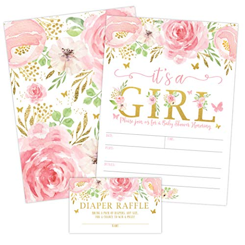 Floral Invite - It's a Girl Floral Butterfly Baby Shower Invitation, Pink and Gold Flowers Sprinkle Invites with Diaper Raffle Ticket Cards, 20 Count with Envelopes