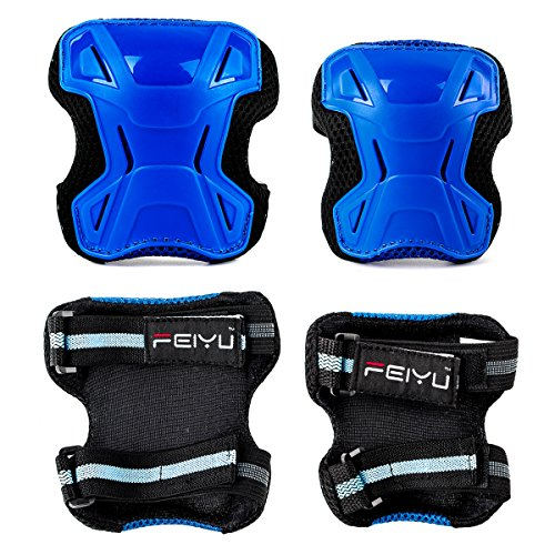Review Kids Child Multi Sports Protective Gear Set, Knee and Elbow Pads with Wrist Guards Toddler for Cycling, Bike, Rollerblading, Skating, Volleyball