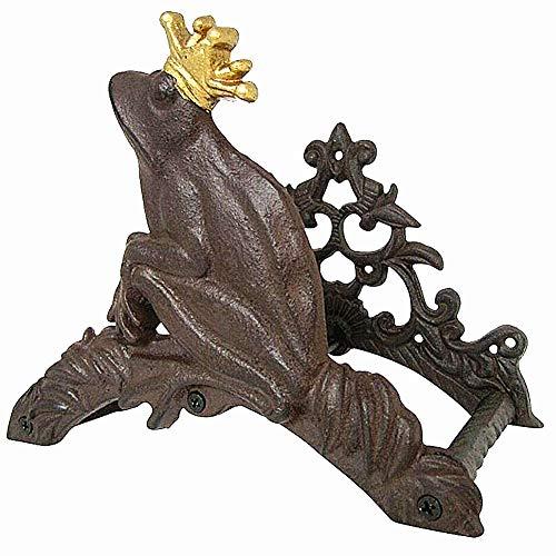 Heavy Duty Cast Iron Garden Hose Hanger Holder Wall Mounted Rack Decorative Frog