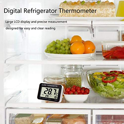 NszzJixo9 Refrigerator Thermometer Digital Refrigerator Freezer Room Thermometer Freezer LCD Alarm Simple Operation Magnetic Back Hanging Hook and Retractable Stand