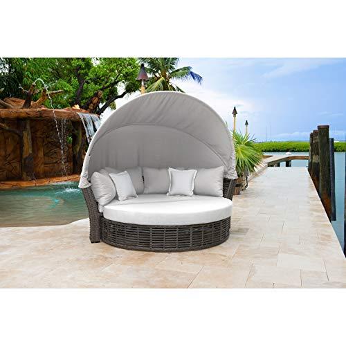 Panama Jack Canopy Daybed in Gray (Sunbrella Canvas Vellum)