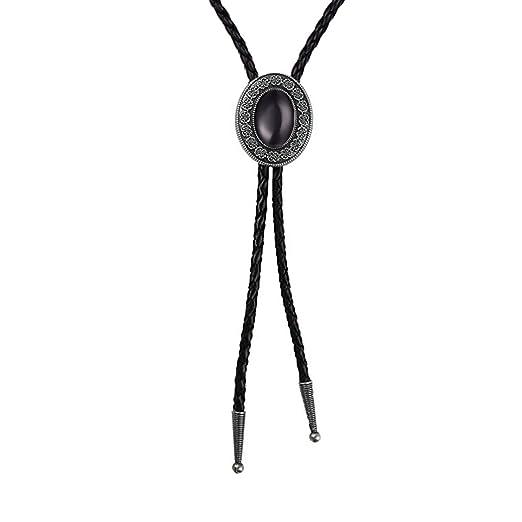 9e935b4c3201 Amazon.com: Bolo tie Black Handmade Western Cowboy Bola tie halloween gifts  for men and women …: Clothing