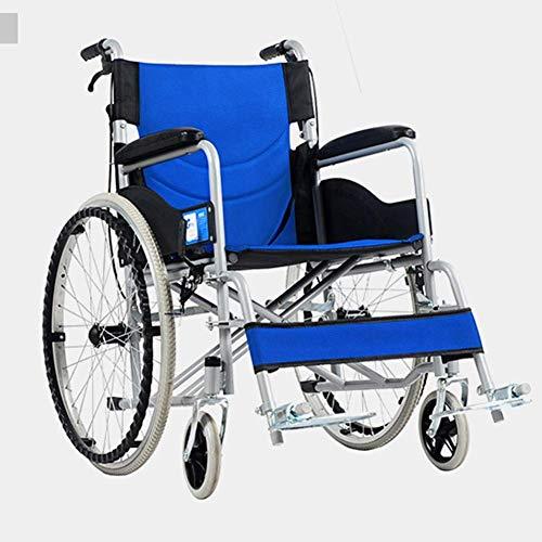 SED Conduccion en silla de ruedas Medical, Tubo de acero grueso Ultra ligero Portatil Plegable S