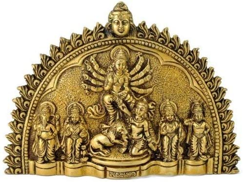 Wgloryind Brass Durga Family Wall Sculpture Wall Hanging