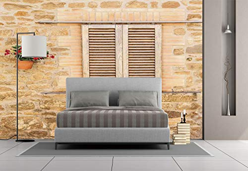 Large Wall Mural Sticker [ Tuscan,Rustic Stone House and Window Shutters Flower Pot on Wall Italian Country Home Theme,Beige ] Self-adhesive Vinyl Wallpaper / Removable Modern Decorating Wall Art