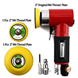 Valianto 2'' 3'' Mini Air Sander, Pneumatic Sander Random Orbital Eccentric Dual Action Polisher with M6 Thread Plate (2'' and 3''),- Adjustable Airflow Valve - US Connector