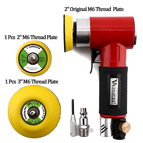 Valianto 2″ 3″ Mini Air Sander, Pneumatic Sander Random Orbital Eccentric Dual Action Polisher with M6 Thread Plate (2″ and 3″),- Adjustable Airflow Valve – US Connector