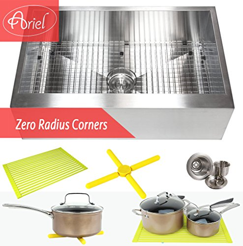 Ariel 30 Inch Zero Radius Design 16 Gauge Single Bowl Stainless Steel Flat Farmhouse Apron Kitchen Sink Premium Package