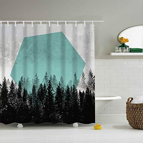 (ColorPapa Decorative Shower Curtain The Black Forest and White Fog with a Tiffany Blue Hexagon Durable Polyester Fabric Bath Curtain with Hooks Large Size)