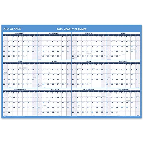 "AT-A-GLANCE 2019 Wall Calendar, 32"" X 48"", Jumbo, Erasable, Reversible, Horizontal (PM30028)"