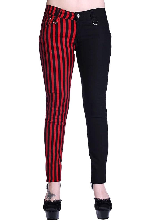 Women's Banned Half Red Striped Half Black Emo Punk Skinny Split Pants  Trousers: Amazon.co.uk: Clothing