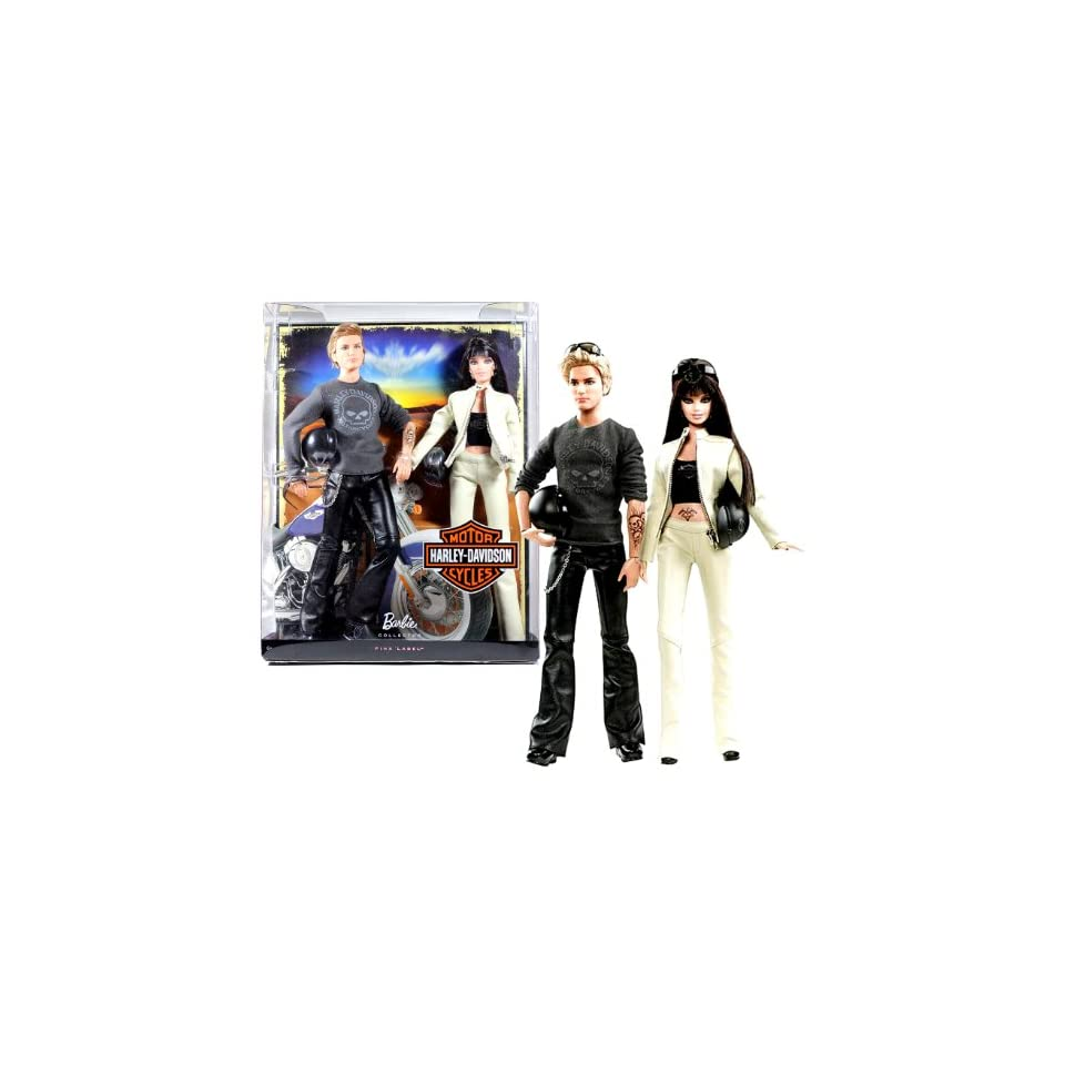 """Mattel Year 2009 Barbie Pink Label Collector Giftset Series 2 Pack 12 Inch Doll Set   """"Harley Davidson Motorcycle"""" KEN with Tattoo, Leather Pants with Chain, Helmet and Sunglasses Plus Barbie with Leather Jacket and Pants, Helmet, Earrings and Su"""