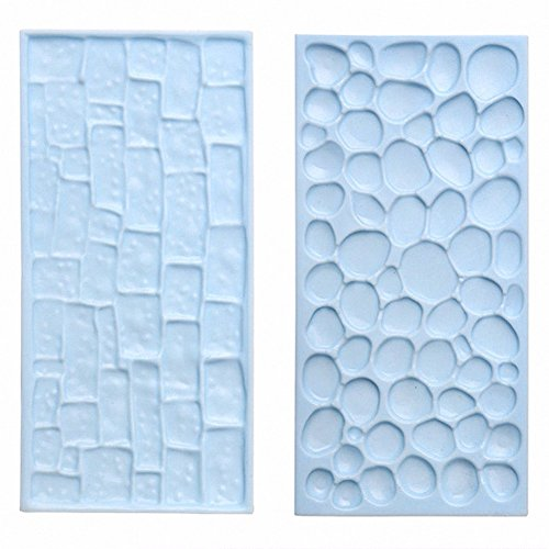 Gaobei 2 Pcs Silicone Embossed Printing Moulds Textured Wood, Brick Wall and Cobblestone Effects for Cake Decorating, Fondant, Icing Supplies for Cupcake Wedding Cake Decoration
